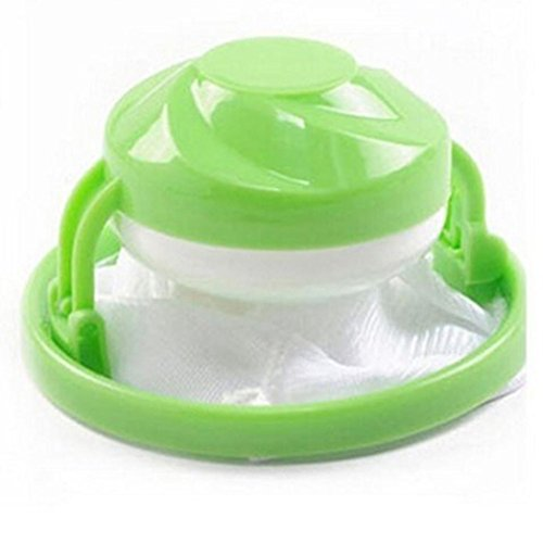 (SUJING Washing Machine Floating Lint Mesh Bag Hair Filter Net Pouch (green))