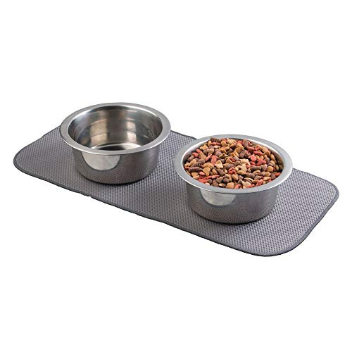 mDesign Premium Quality Microfiber Polyester Pet Food and Water Bowl Feeding Mat for Cats – Ultra Absorbent Reversible…