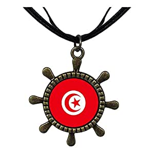 Chicforest Bronze Retro Style Tunisia flag Ship Steering Wheel Pendant