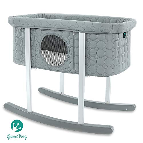 Baby Bassinet Cradle Includes Gentle Rocking Feature Great for Newborns and Infants Safe Mattress Includes Wheels for Easy Movement High End Washable Fabric Lightweight amp Transportable Grey