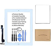 iPad 4 Model A1458 A1459 A1460 Screen Digitizer Glass Assembly(White) - Includes Adhesive Stickers Bezel Frame and…