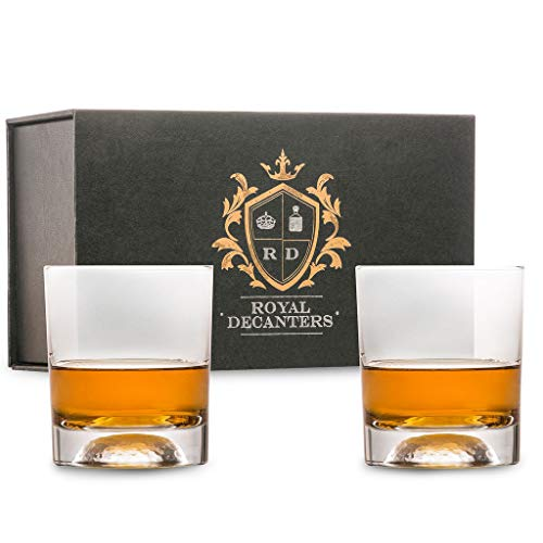 Royal Decanters Golf Themed Whiskey Glasses Gift Set -10 Ounces- for Whiskey Scotch Rum Bourbon Tequila