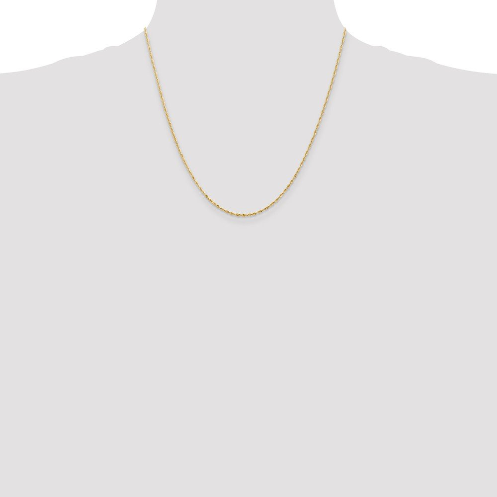14k Yellow Gold Light Diamond Cut Rope Chain Necklace Black Bow Jewelry 1.5mm