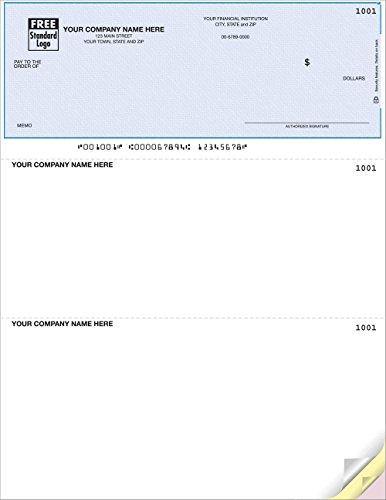 Computer Checks Compatible with QuickBooks/ Laser or Inkjet printers, BlueHerringbone by PrintEZ