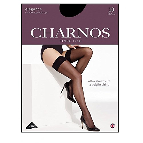 Pantyhose Toe Elegance Open - Charnos Elegance Ultra Sheer Hold-Ups: 10 Denier Black Large