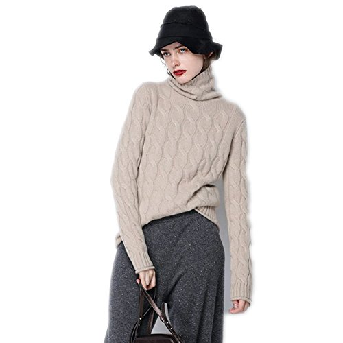 Girls Cashmere Cable (Cable-Knit Cashmere Cardigan Sweater Turtleneck Long Sleeve Pullover (M, Tan))