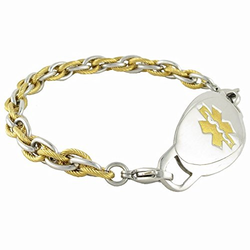"N Style ID Men's Pegasus chain PRE-ENGRAVED ""Type 2 Diabetes"" medical ID bracelet - Gold 9 by N-Style ID"