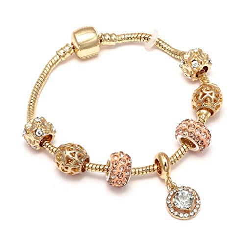 Fashion Luxury Crystal Heart Gold Color Charm Bracelet for Girl Murano Glass Beads Brand Bracelet for Women DIY Jewelry Gift