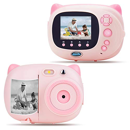 AMKOV Kids Camera Instant Print Digital Camera with Zero Ink Printing for Girls & Boys, WiFi Camera for Kids, 2.4inch LCD Display, Auto-Focusing, Auto-Flashlight, Creative Toys – Pink