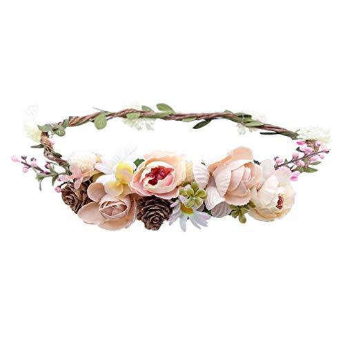 - DARLING HER Diadem Flower Crown Wedding Bride Wreath Flowers Head Band Bohemia Women Hair Accessories Flower Headband Headpiece 79A