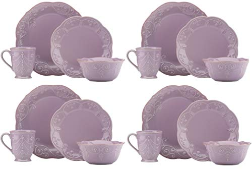 - Lenox French Perle 16 Piece Dinnerware Set in VIOLET - LIGHT PURPLE New in box 4 DINNER 4 SALAD 4 BOWLS 4 MUG