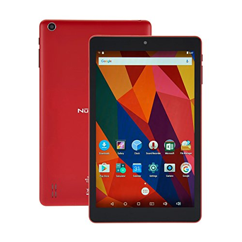 Nuvision 8 Inch HD Touchscreen Android Tablet with Case, 1.3GHz Cortex-A7 Quad-core Processor, 16GB Storage and 1GB RAM with Wifi, Bluetooth 4.0 and Dual Cameras (Red) by NUVISION