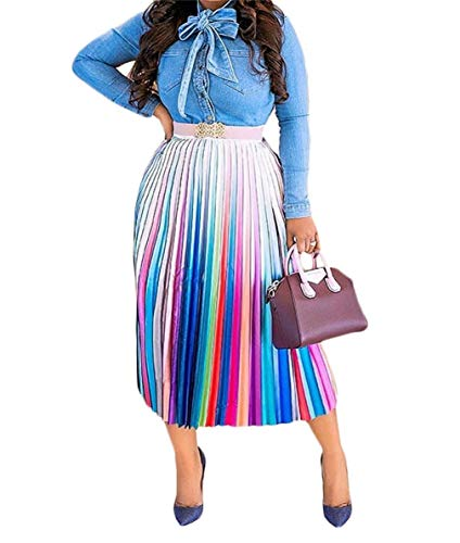 Womens Sexy Rainbow Striped Midi Skirt Elegent Ruffled High Waist A Line Skirts Plus Size Night Club Cocktail