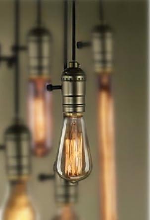 Edison vintage rustika Pendellampe Glühbirne mit schwarz Halter 1,2m Kabel 60W