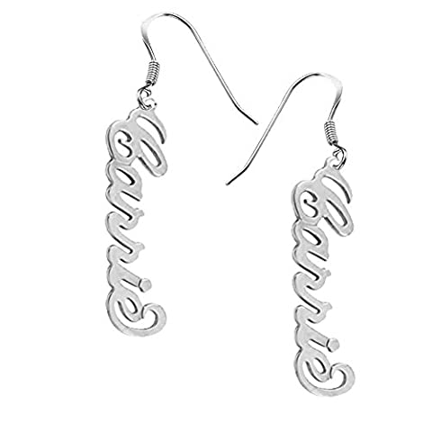 Ouslier 925 Sterling Silver Personalized Vertical Name Drop Earrings Custom Made with Any Names (Behringer In Ear Monitor System)