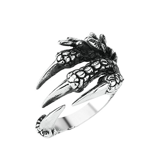 [Aooaz 316L Stainless Steel Mens Ring Bands Open Claw Silver Size 11 Punk Gothic Vintage Novelty] (Tarnished Costume Jewelry Cleaner)