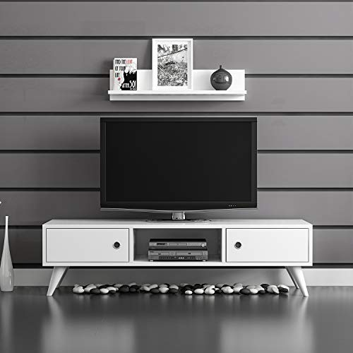 Aspen Media Console Entertainment Table Wood Cabinet - Tv Table White 51 Inch