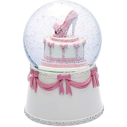 (J JHOUSELIFESTYLE Happy Birthday Snow Globe Birthday Cake Design, High-Heel Rotating as Music Plays, Perfect Birthday Snowglobe Music Boxes for Women Girls )