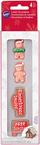 Wilton W5811 Candy Decorations 4/Pkg Signs & Gingerbread Boys ()
