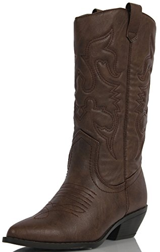 soda-womens-reno-western-cowboy-pointed-toe-knee-high-pull-on-tabs-boots9-bm-usdark-tan