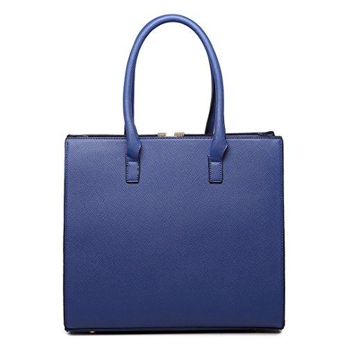 Miss Lulu Bolso de hombro de las bolsas de asas de la imitación de cuero para las mujeres 1666 Azul marino / Marrón