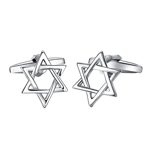 Yoursfs Hexagonal Star Cufflinks for Men Silver Plated Alloy Geometry Shape Simple Cufflinks
