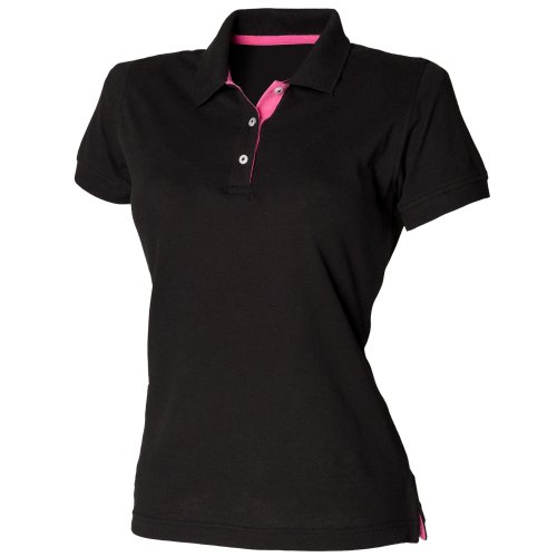 Henbury Damen Polo Shirt Slim Fit Kontrast (XLarge) (Schwarz/Fuchsia)
