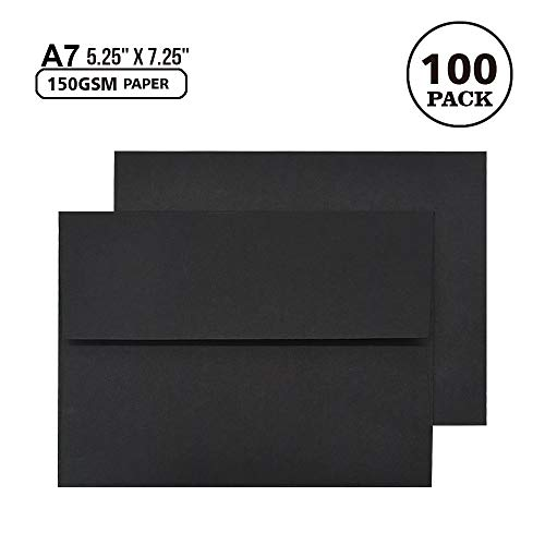 ( A7 Invitation Envelopes - Self Seal, Square Flap,Perfect for 5x7 Cards, Weddings, Birthday Invitations Pack of 100 Pcs - Black - 7.25 X 5.25 Inch )