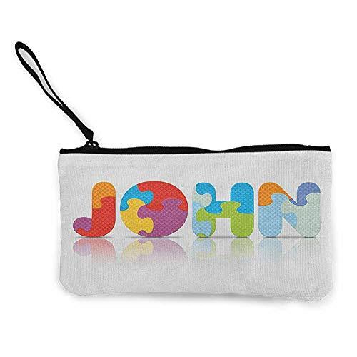 Women's hand bag clutch bag John Ancestral Children Name with Medieval Origins Nursery Themed Puzzle Preschool Design Wallet Coin Purses Clutch W 8.5