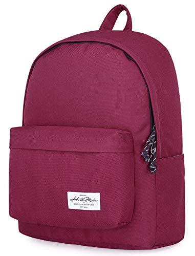 CANDER Classic School Backpack College Bookbag, Maroon (Best Bookbag For College)