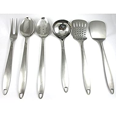 6 Stainless Steel Kitchen Tools Cooking Utensil Serving Set Server Spatula Spoon