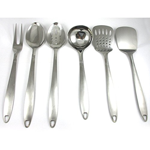 6 Stainless Steel Kitchen Tools Cooking Utensil Serving Set Server Spatula Spoon by ATB