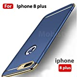 MOBISTYLE - Electroplating Chrome 3IN1 Luxury Full Body Protective Hard Back Cover for iphone 8 plus (Blue)