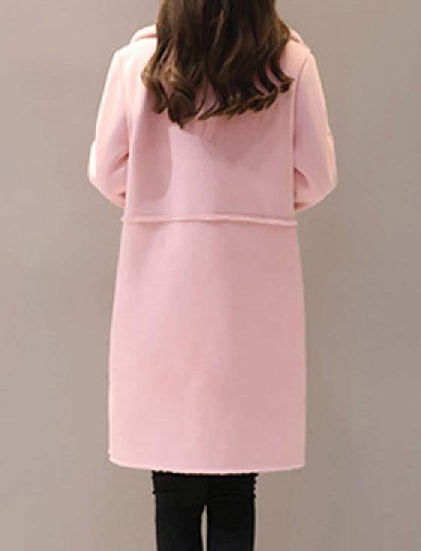 Coolred-Women Thickened Winter Faux Suede Fleece Turn Down Collar Pea Coat