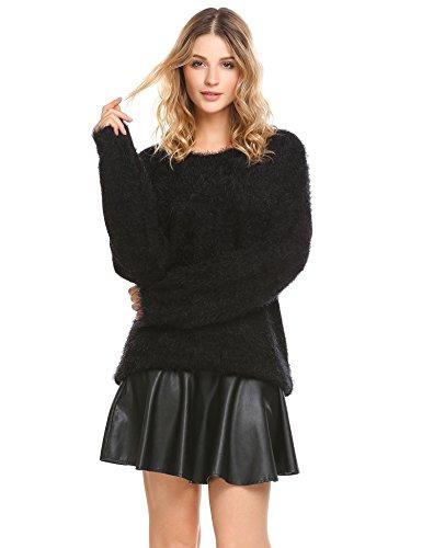 Mohair Blend Sweater (Dicesnow Women Winter Pullover Jumper Knitwear Fluffy Mohair Blend Knitted Sweater(Black,S))