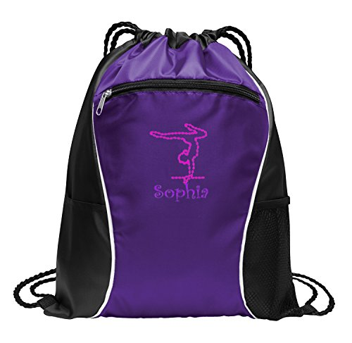 All about me company Fast Break Cinch Pack | Personalized Gymnastics Sackpack Bag (Purple)]()