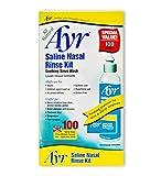 Ayr Saline Nasal Rinse Kit Soothing Sinus Wash, 100-Count Saline Nasal Rinse Mixture Packets Plus Applicator Bottle (Pack of 2)