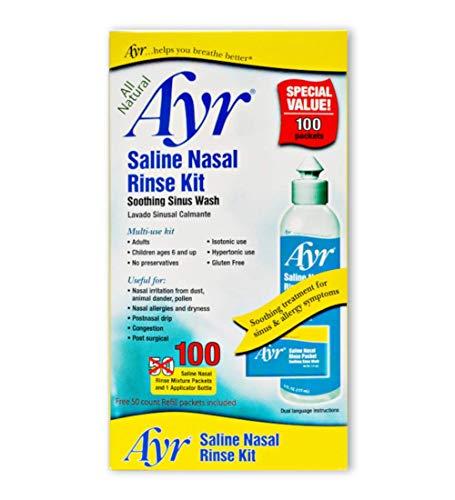 Sinus Rinse Sinus Moisturizer - Ayr Saline Nasal Rinse Kit Soothing Sinus Wash, 100-Count Saline Nasal Rinse Mixture Packets Plus Applicator Bottle (Pack of 2)