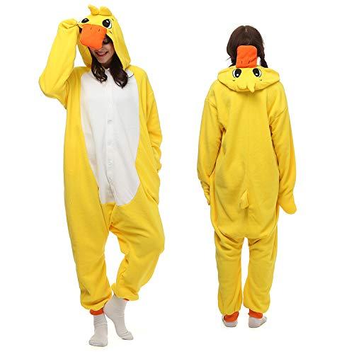 Onesie Yellow Duck Adult Pajamas Cosplay Costumes for Women Men