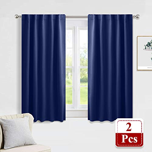 PONY DANCE Blackout Curtains Set Rod Pocket Curtain Panels Thermal Insulated Window Coverings with 6 Back Loops Per Panel for Kids' Room, 42