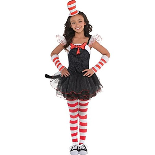 Toddler Tutu Cat Costume (So Sydney Toddler Girl Thing or Cat in the Hat Outfit Costume, Top Pants Tutu Skirt (XS (2T/4T), Cat))