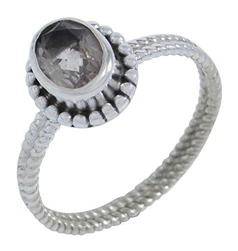 Banithani Argent 925 Smoky Topaz femmes indiennes Bague Band Designer Jewellery