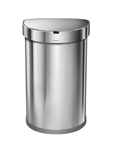 simplehuman 45 Liter / 12 Gallon Stainless Steel Semi-Round Sensor Can, Touchless Automatic Trash Can, Brushed Stainless Steel (Half Round Wastebasket Lid)