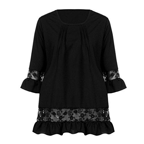 Shirt Dentelle T Femme Blouse Paolian Longue Manches Chemisier Patchwork Noir qBwxWaX