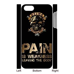 USMC Marine Corps With Skull Pain Is Weakness Leaving The Body Iphone 5 5S White Hard Plastic Back Wearproof And Sleek Case Cover