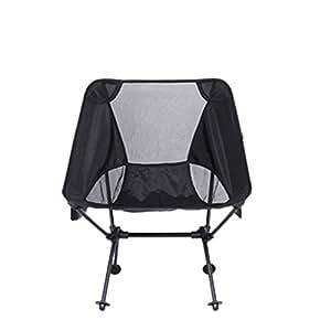 e-bose plegable silla ultraligero portátil malla Sillas de campaña con bolsa de transporte, para camping, pesca, senderismo, playa, al aire libre, color negro