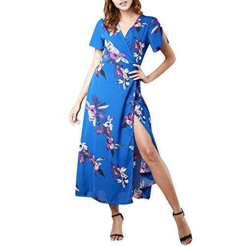 Women's Spaghetti Sundress,Women's Floral Summer Dress Casual Short Sleeve V Neck Print Party Dress Sundress Blue