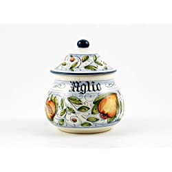 Hand Painted Italian Ceramic Garlic Jar Venezia - Handmade in Gubbio