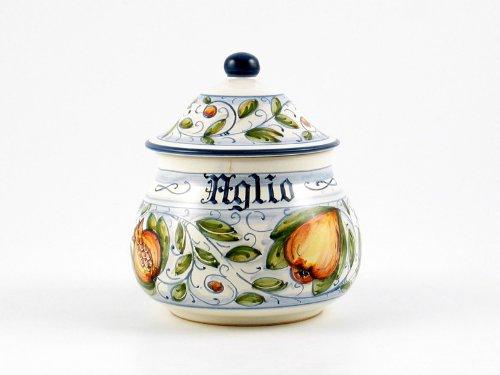Hand Painted Italian Ceramic Garlic Jar Venezia - Handmade in Gubbio by Ceramiche Rampini