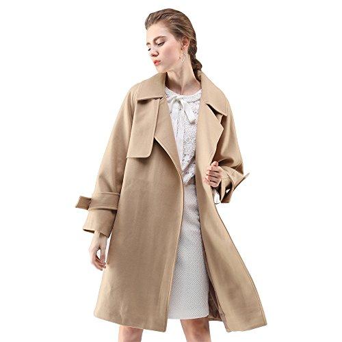 Chicwish Women's V Neck Notched Lapel Open Front Long Sleeve Light Tan Longline Belted Wool Blend Coat, Tan, Medium